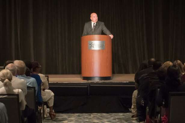 The Lone Star College System's more than 7,500 employees are preparing for students to return to classrooms as the semester begins Aug. 26. Before that happens, though, the system's leaders held the annual convocation at The Woodlands Waterway Marriott Hotel and Convention Center on Monday. Here, Chancellor Stephen Head addresses those in attendance.