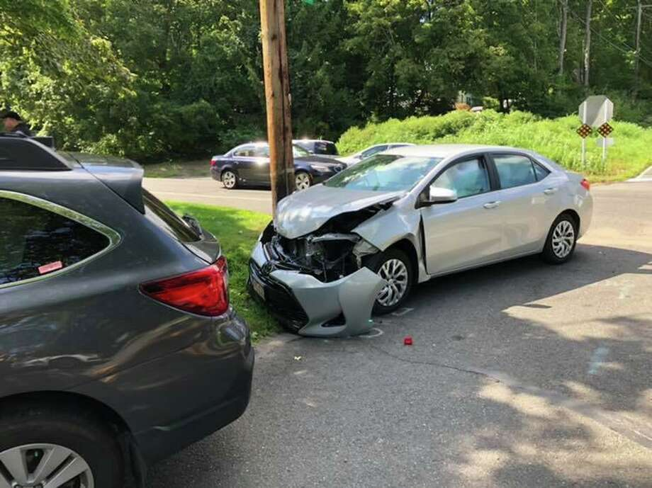 There was a two-car collision at the Route 110-Wheelers Farm Road intersection the afternoon of Aug. 20, 2019. There were no serious injuries reported. Photo: Monroe Volunteer Fire Department