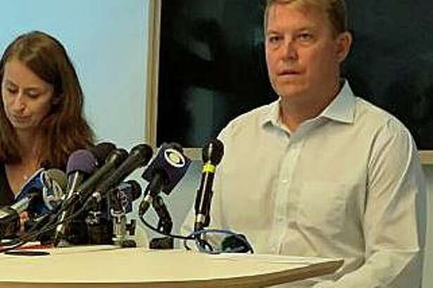 Gavin Scott Hapgood, the UBS trader accused of killing a hotel worker during a violent struggle while on vacation with his family in the Caribbean, speaks publically for the first time on the incident on Tuesday, Aug. 21, 2019. The Darien man and his attorney, Juliya Arbisman, of Amsterdam & Partners LLP based in London, held a press conference Tuesday afternoon in Manhattan.