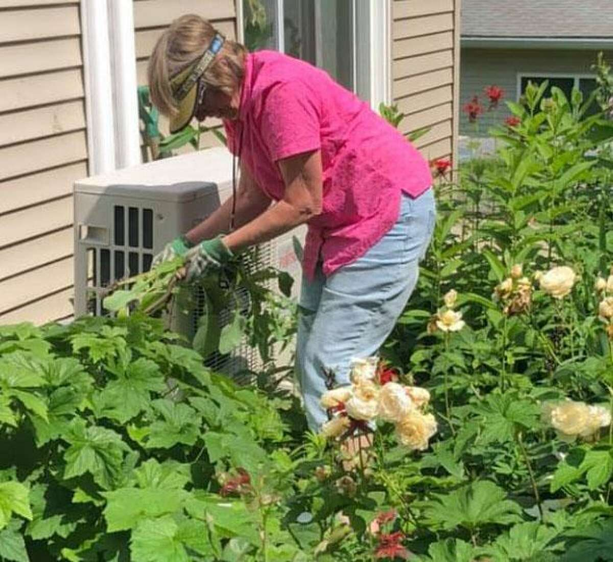 Joan Freeman pulls weeds from one of the gardens.