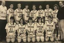 "The New Milford High School girls' varsity basketball team for the 1991-92 school year is shown above. Coach Bigham, back left, and Coach Bierbower, back right, are shown with, from left to right, in front, Christina Marazita, Diane DaCunha, Amy Fogel, Sally Miller and Anne Radday, and I nback, Jen Metcalf, Debbie Russell, Liz Miller, Megan Vermilyea, Corey Brady, Meegan O'Connell and Kathy Davis. If you have a ""Way Back When"" photograph you'd like to share, contact Deborah Rose at drose@newstimes.com or 860-355-7324."