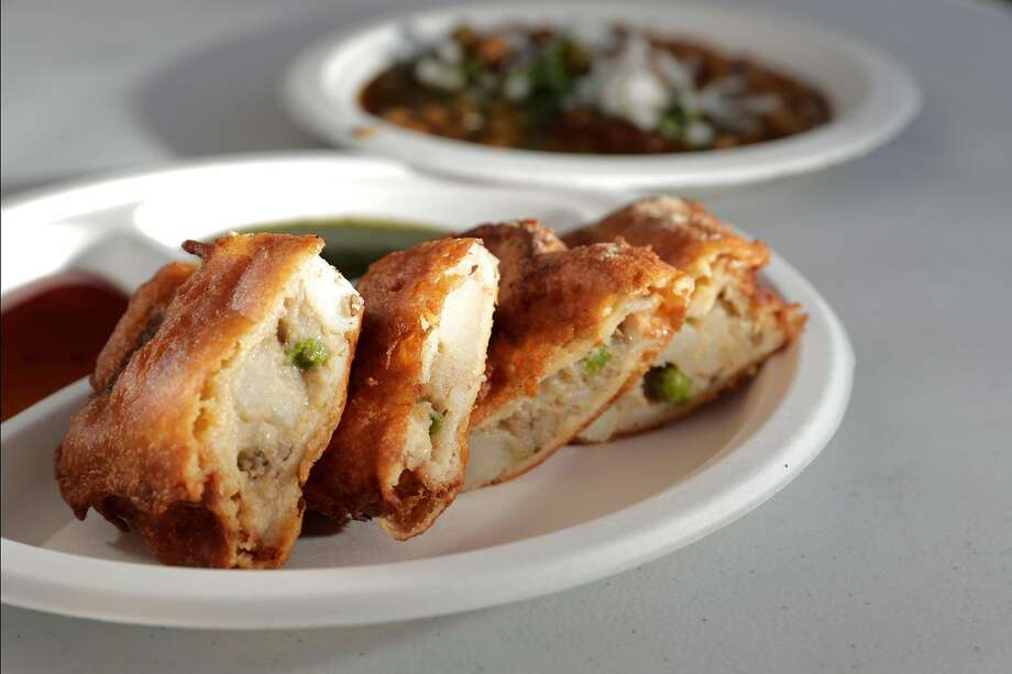 Bread Pakora served at the Delhiwala Chaat food truck in Sunnyvale, Calif., on Sunday, August 18, 2019. The trucks draw a regular local crowd at the gas stations where they park on a daily basis. Photo: Carlos Avila Gonzalez / The Chronicle