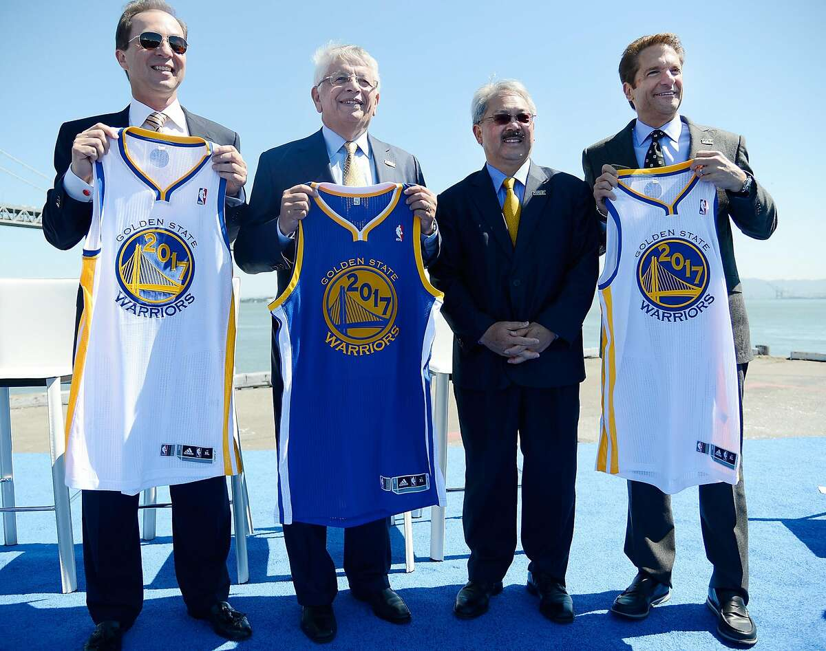 SAN FRANCISCO, CA - MAY 22: (L-R) Co-Executive Chairman & CEO, Golden State Warriors Joe Lacob, NBA Commissioner David Stern, San Francisco Mayor Edwin M. Lee, and Co-Executive Chairman of the Golden State Warriors Peter Guber poses together for this pho