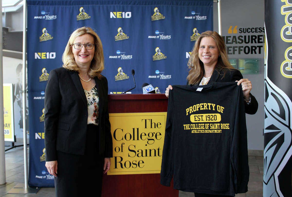 New College of Saint Rose athletic director Lori Anctil, right, stands with school president Carolyn Stefanco at Anctil's introductory news conference on Aug. 20, 2019. (College of Saint Rose athletics)