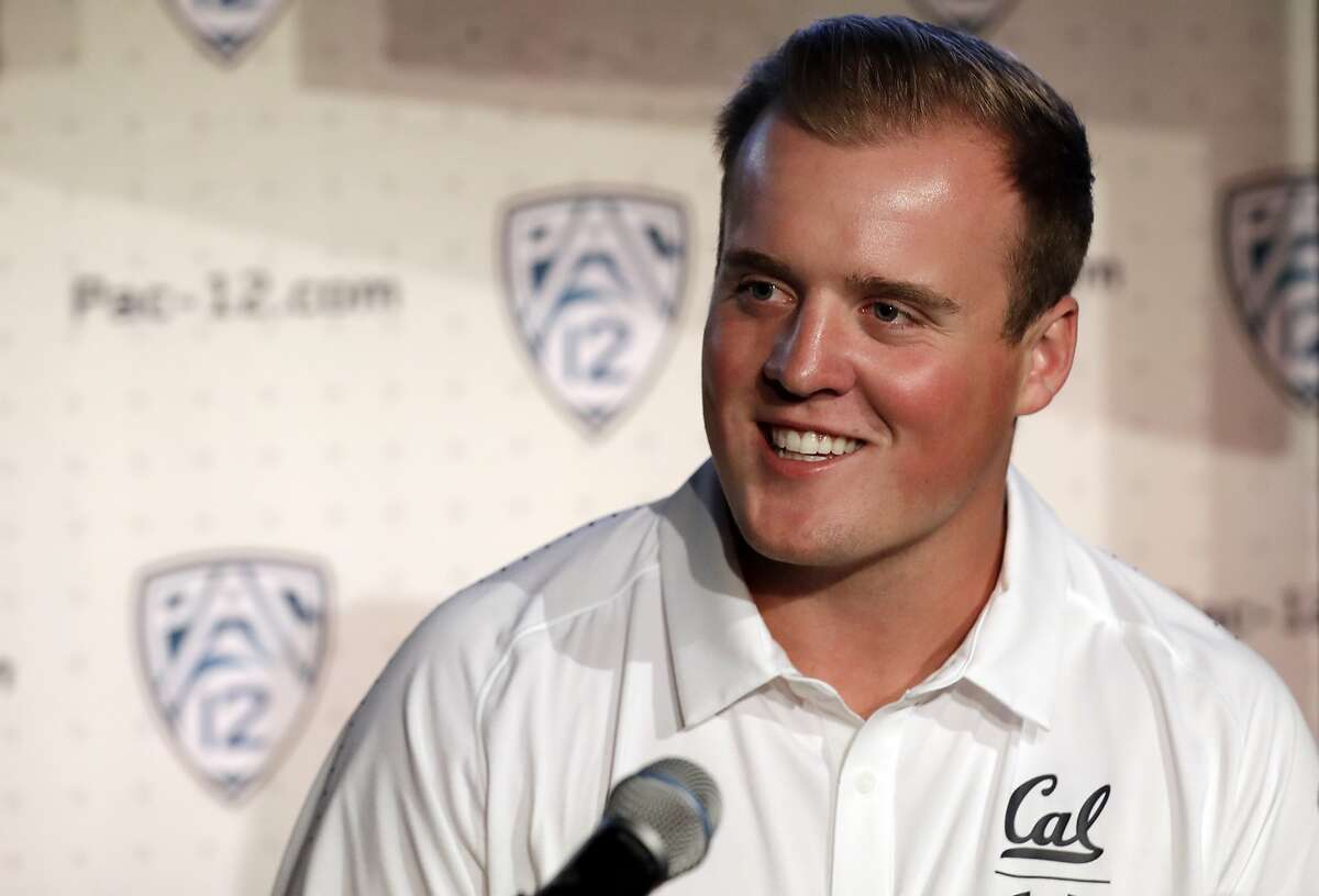California linebacker Evan Weaver answers questions during the Pac-12 Conference NCAA college football Media Day Wednesday, July 24, 2019, in Los Angeles. (AP Photo/Marcio Jose Sanchez)
