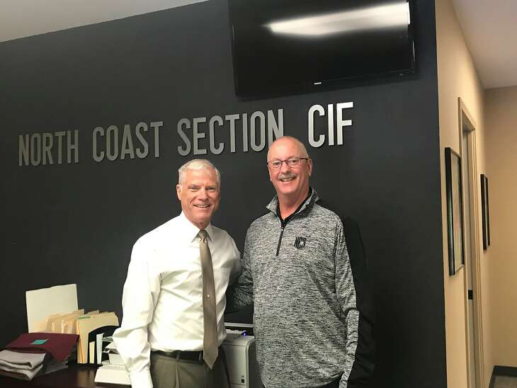 New North Coast Section Commissioner Pat Cruickshank, right, poses with outgoing NCS leader Gil Lemmon on July 31, Lemmon's last day on the job.