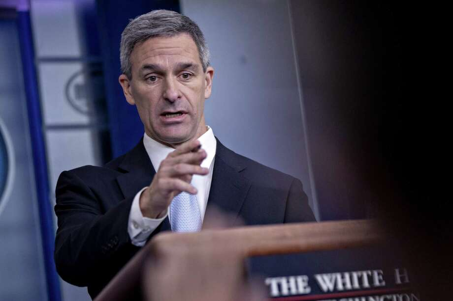 Ken Cuccinelli of the U.S. Citizenship and Immigration Services mocked the Statue of Liberty inscription, denying the truth about immigrants. Photo: Andrew Harrer / Bloomberg / © 2019 Bloomberg Finance LP
