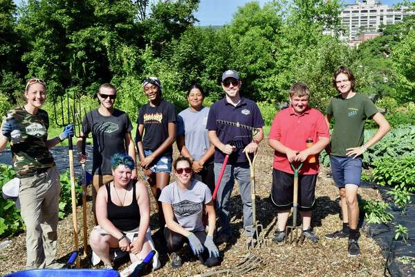 Fifteen Bestpass employees volunteered at the Capital Roots Produce Project Farm in Troy on Aug. 15. Employees weeded, mulched and planted vegetables alongside Troy High School students. (Photo provided)