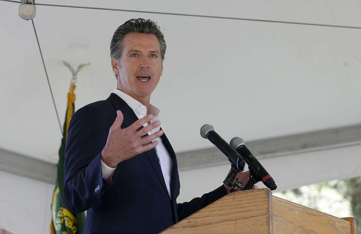 California Gov. Gavin Newsom gives the keynote address at the 23rd Annual Lake Tahoe Summit on Aug. 20, 2019.