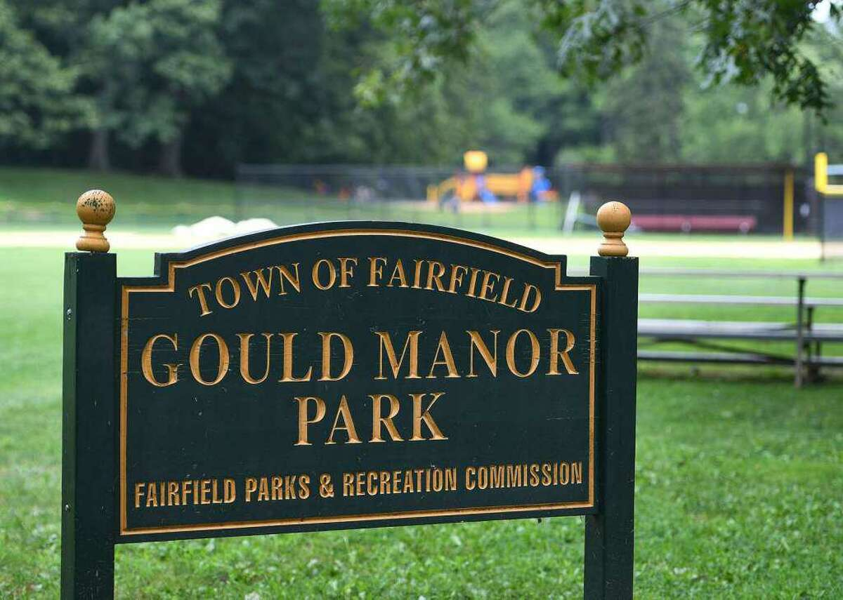 The sidewalk area around Gould Manor Park has been closed for remediation.