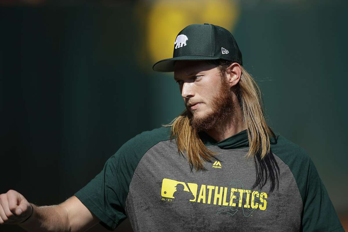 Oakland Athletics' A. J. Puk warms up before the team's baseball game against the New York Yankees on Tuesday, Aug. 20, 2019, in Oakland, Calif. (AP Photo/Ben Margot)