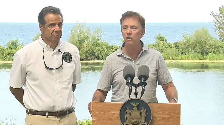 New York Gov. Andrew Cuomo, left, and Connecticut Gov. Ned Lamont. Photo: Screen Shot Of Video From Cuomo's Office
