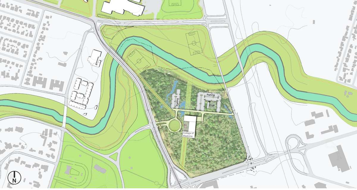 The planned UH medical school will be built on a 43-acre tract of undeveloped land at the university's southeast corner.