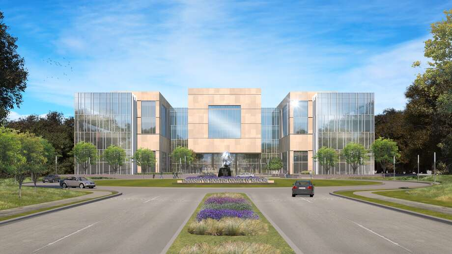 Groundbreaking for the University of Houston's planned medical school is spring 2020. This architectural rendering shows the front of building. Photo: UH College Of Medicine