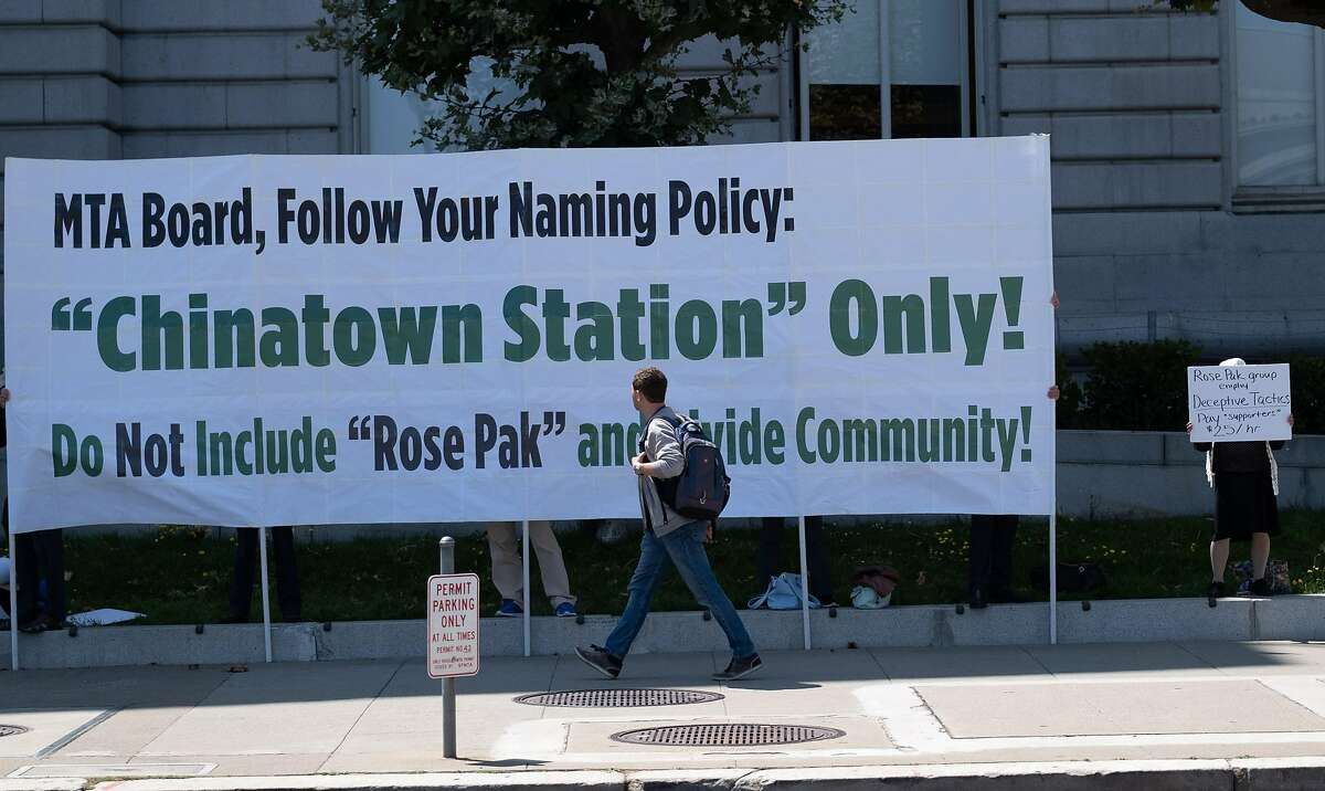 August 20, 2019 - Protesters are seen outside of City Hall before the SFMTA board meets to take a second vote on naming the Chinatown Central Station after divisive local political figure Rose Pak.