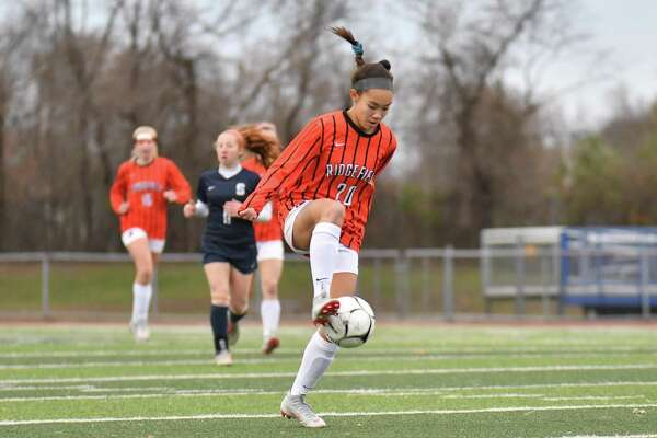 CIAC Class LL Championship Soccer action between the Staples Wreckers and the Ridgefield Tigers played on Sunday November 18, 2018, at West Haven High School in New Haven, Connecticut.