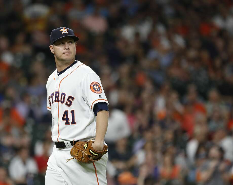 PHOTOS: Houston Astros (2019) baby photos Houston Astros relief pitcher Brad Peacock (41) reacts after striking out Detroit Tigers Jordy Mercer to end the third inning of an MLB game at Minute Maid Park, Tuesday, August 20, 2019. >>>Guess who these Houston Astros players are based off photos from their childhood ... Photo: Karen Warren/Staff Photographer