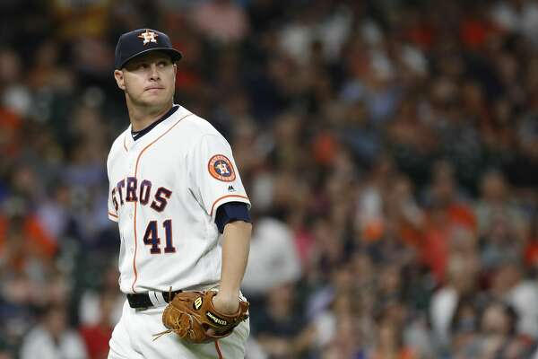 Houston Astros relief pitcher Brad Peacock (41) reacts after striking out Detroit Tigers Jordy Mercer to end the third inning of an MLB game at Minute Maid Park, Tuesday, August 20, 2019.