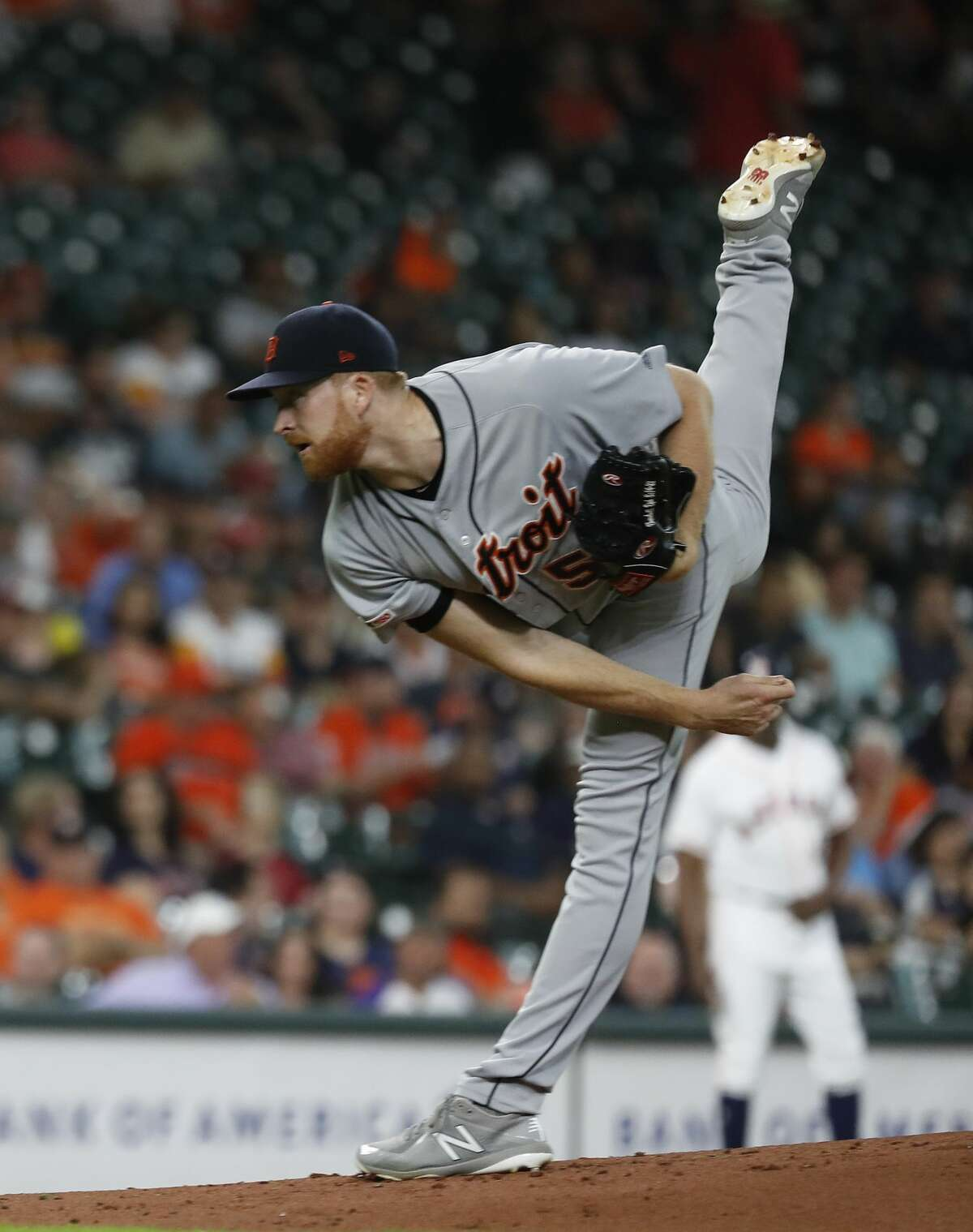 Detroit Tigers starting pitcher Spencer Turnbull (56) pitches during the first inning of an MLB game at Minute Maid Park, Tuesday, August 20, 2019.