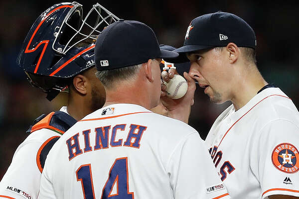 Houston Astros starting pitcher Aaron Sanchez (18) gets pulled by manager AJ Hinch after giving up a run, walking Detroit Tigers Miguel Cabrera with the bases loaded during the third inning of an MLB game at Minute Maid Park, Tuesday, August 20, 2019.