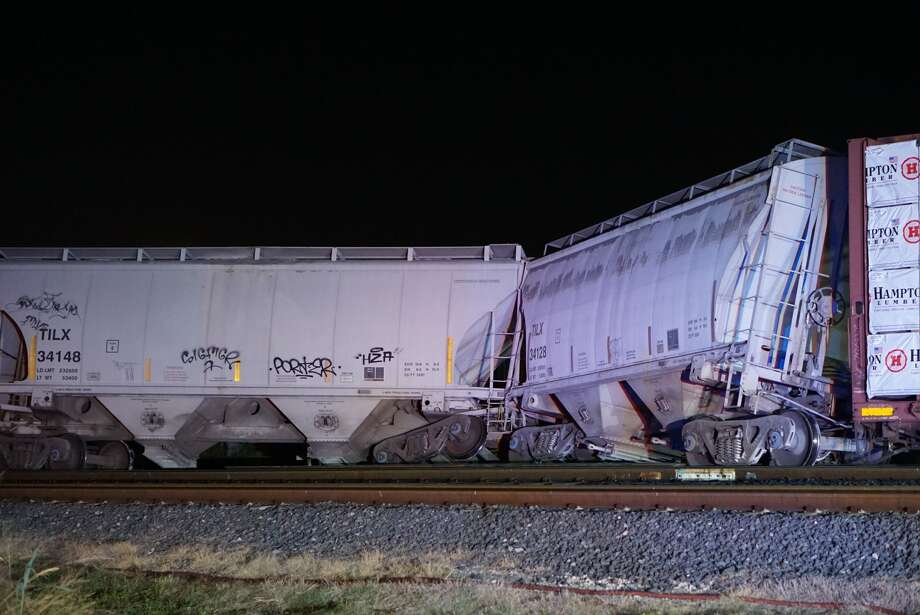 Four railcars derailed as a train was approaching downtown Tuesday, Aug. 20, 2019, near the intersection of South Brazos Street and Frio City Road. Photo: Jacob Beltran