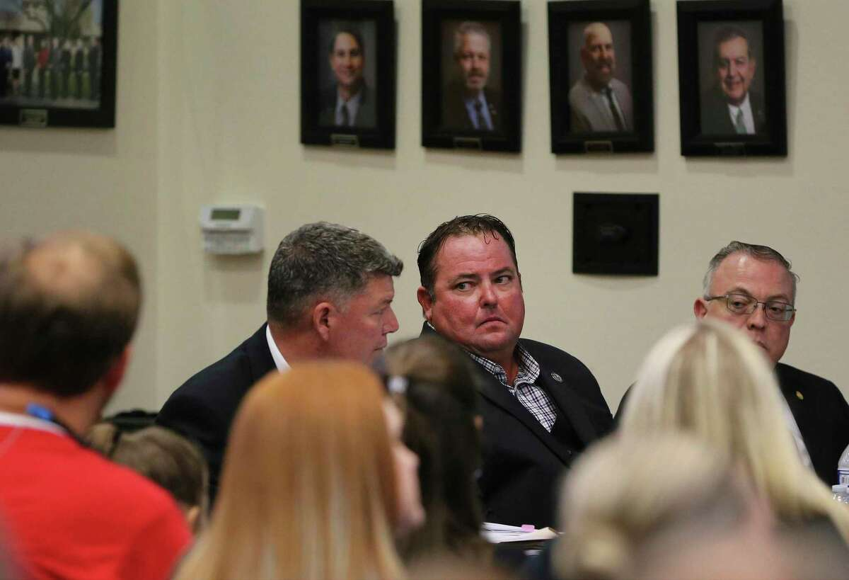 """Cibolo Mayor Stan """"Stosh"""" Boyle confers with attorneys at a City Council meeting in August 2019. After the final votes were counted this week, Boyle, 44, ended up with 50 percent of the vote plus one - avoiding a runoff and winning a second term as mayor outright."""