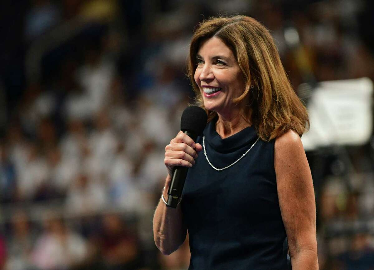 New York Lieutenant Governor Kathy Hochul speaks during Opening Ceremonies on opening night of the Aurora Games at the Times Union Center on Tuesday, Aug. 20, 2019 in Albany, N.Y. (Lori Van Buren/Times Union)