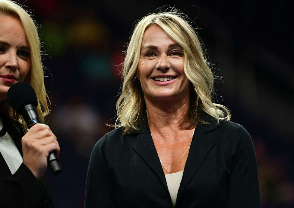 Olympic gold medalist gymnast Nadia Comaneci is intruduced during Opening Ceremonies on opening night of the Aurora Games at the Times Union Center on Tuesday, Aug. 20, 2019 in Albany, N.Y. (Lori Van Buren/Times Union)