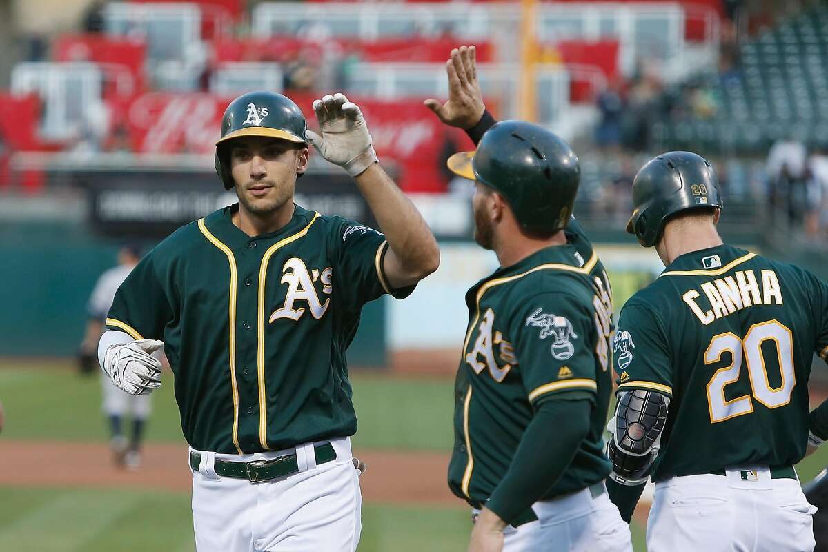 OAKLAND, CALIFORNIA - AUGUST 20: Matt Olson #28 of the Oakland Athletics celebrates with Robbie Grossman #8 after hitting a two-run home run in the top of the first inning against the New York Yankees at Ring Central Coliseum on August 20, 2019 in Oakland, California. (Photo by Lachlan Cunningham/Getty Images)