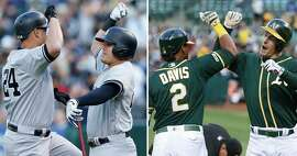 A composite image of (left) Gary Sanchez #24 celebrates with Gio Urshela #29 of the New York Yankees after hitting a solo home run in the top of the first inning against the Oakland Athletics at Ring Central Coliseum on August 20, 2019 in Oakland, California. (Right)Mark Canha #20 of the Oakland Athletics celebrates with Khris Davis #2 after hitting a solo home run in the bottom of the first inning against the New York Yankees at Ring Central Coliseum on August 20, 2019 in Oakland, California.