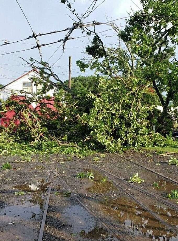 """Damage from Monday afternoon's strong thunderstorms on Aug. 19, 2019 has caused the temporary closure of the Shore Line Trolley Museum in East Haven. """"Monday's severe storms have caused tree and trolley wire damage to our museum. We will be closed for the remainder of the week while we recover. We hope to re-open on Saturday, August 23,"""" the museum posted on its web site. Photo: Shore Line Trolley Museum Photo"""