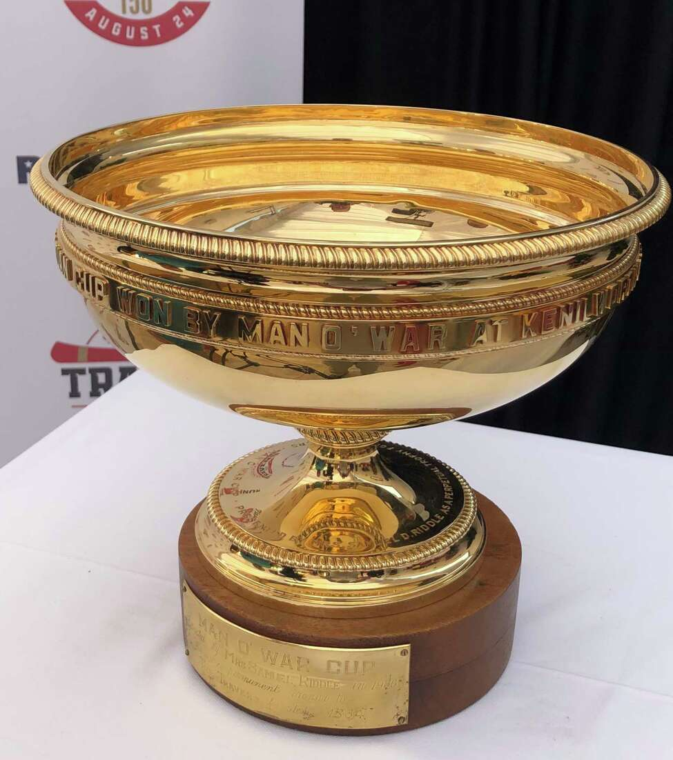This is what everyone is running for on Saturday. Ita€™s the Man oa€™War Cup, which is awarded to the winner of the Travers Stakes. The solid gold cup is named after the famous race horse, who won the 1920 Travers and is considered one of the greatest horses of all time. Winning the Travers will give the winners a commemorate trophy. The main one is much too valuable to be handed around every year, right or wrong?