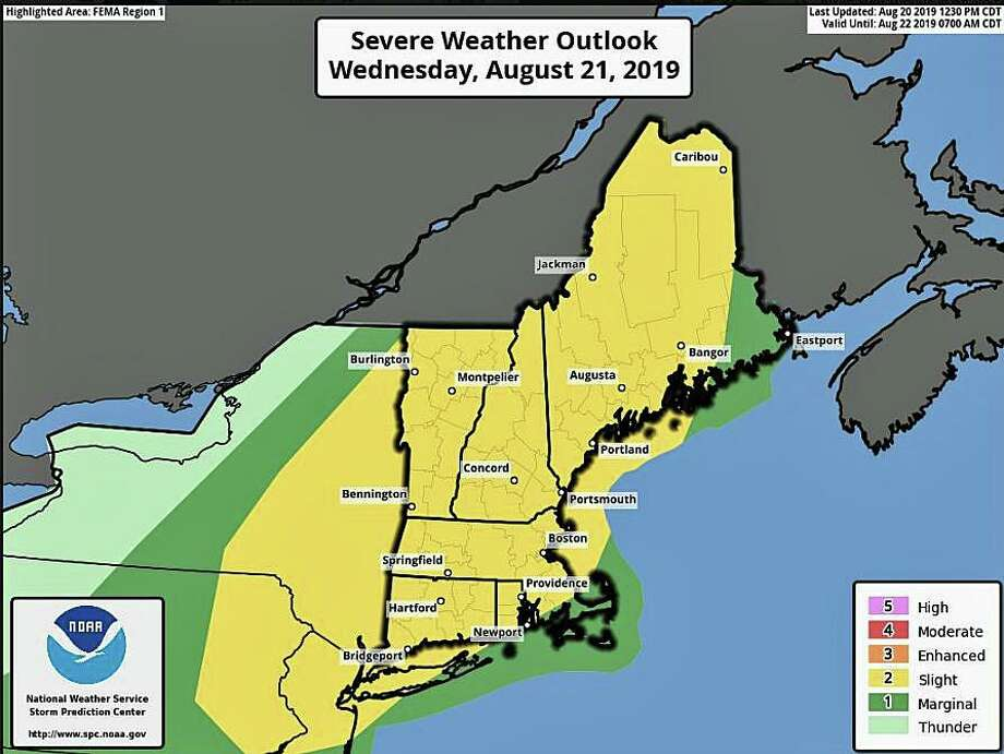 There is a slight risk for severe thunderstorms Wednesday afternoon and evening. Damaging winds and large hail are the primary threats, but can't rule out an isolated tornado. Photo: National Weather Service Boston Office