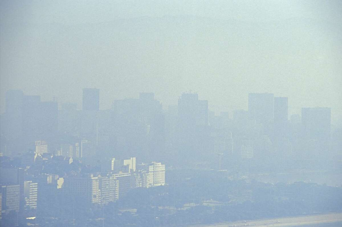 Air pollution, Flamengo Park in foreground and the city downtown in background, in this file photo.