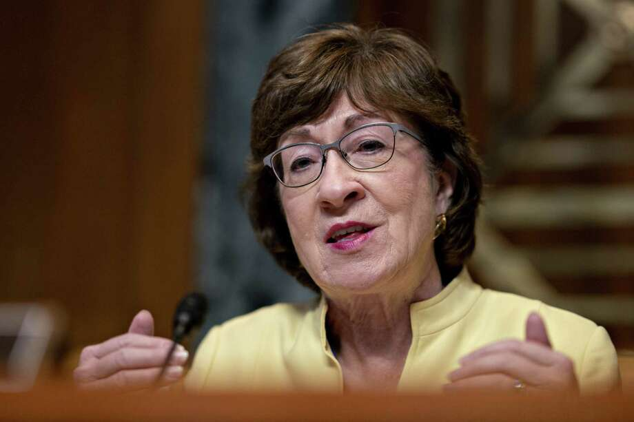 Sen. Susan Collins is shown at a Senate Appropriations Subcommittee on Transportation hearing on July 31, 2019. Photo: Bloomberg Photo By Andrew Harrer / Bloomberg