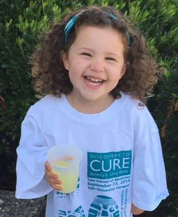 Emma Levinson, 6, will selllemonade at 170 Kings Highway in Milford, Conn. on Sunday, Sept. 1, 2019 from 11:30 a.m. to 3 p.m., to raise money for cancer research. Photo: Beverly Levy Walk / Contributed Photo