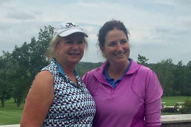 Kate Becker (right) won the 18-hole division at the Ridgefield Ladies Golf Association's President's Cup tournament. With Becker is Donna Baron, the nine-hole division champion.
