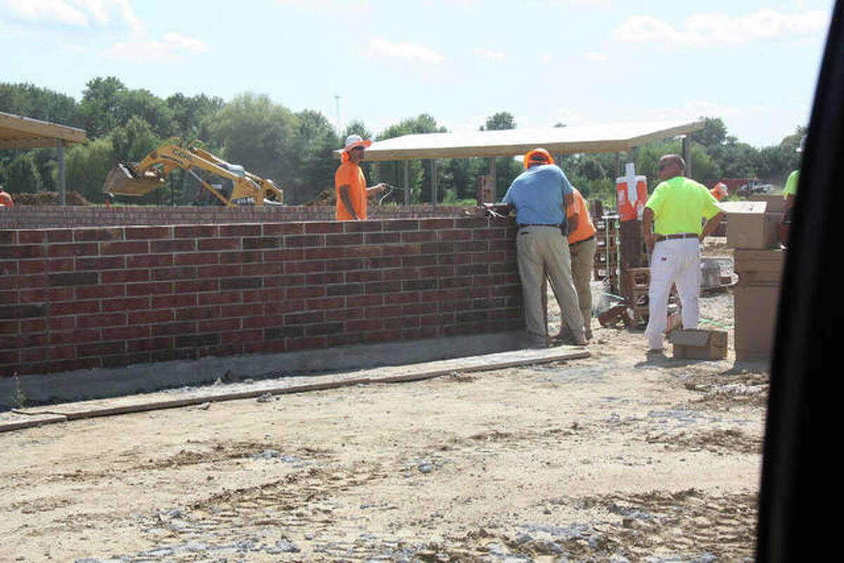 Brickwork has started at Plummer Family Park. Crews have made consistent progress at the park and are on track for a Nov. 1 opening, which remains weather dependent.