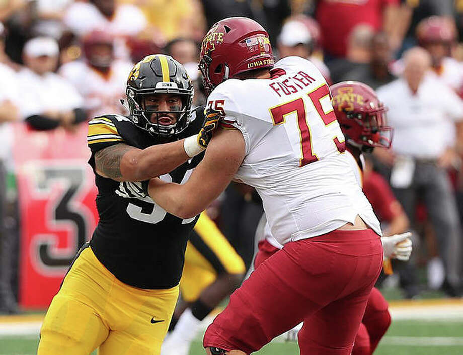 AJ Epenesa in action against Iowa State last year. Photo: Rick Brewer|For The Intelligencer