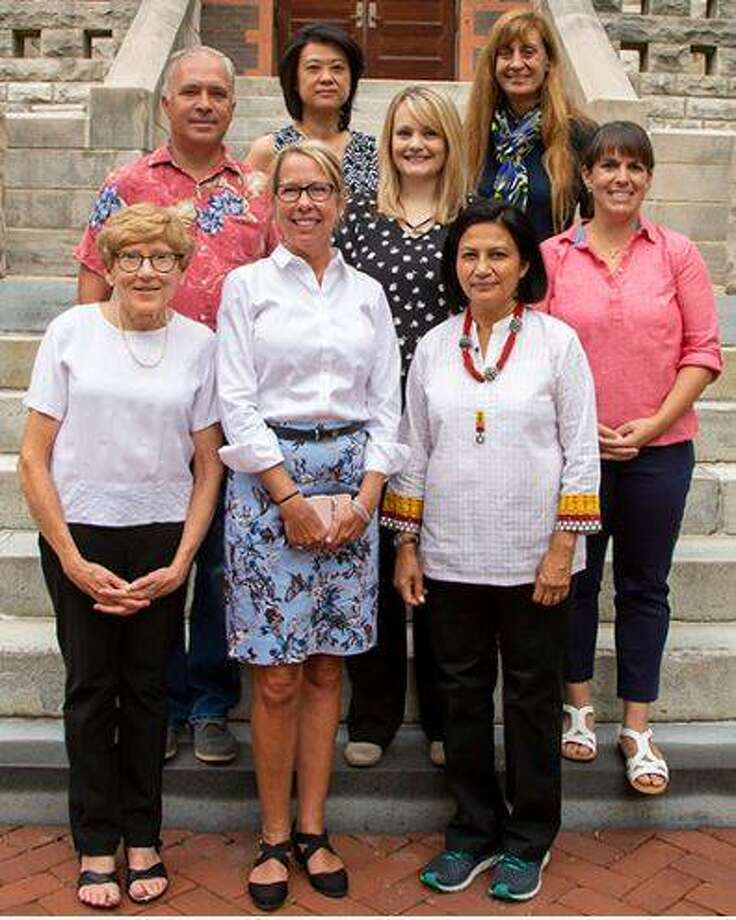 Lewis and Clark Community College has welcomed five new faculty members for the 2019-2020 academic year. Pictured are, front row from left, Vice President of Academic Affairs Linda Chapman; Dean of Transfer Programs Jill Lane; and Dr. Rosemarie Vithayathil, Biology. In the second row, from left, are David Petrullis, Architecture; Ashley Mayernik, Nursing; and Abby Stephens, Biology. In the back row, from, are Angela Hung, Art, and Dean of Career Programs Sue Czerwinski.