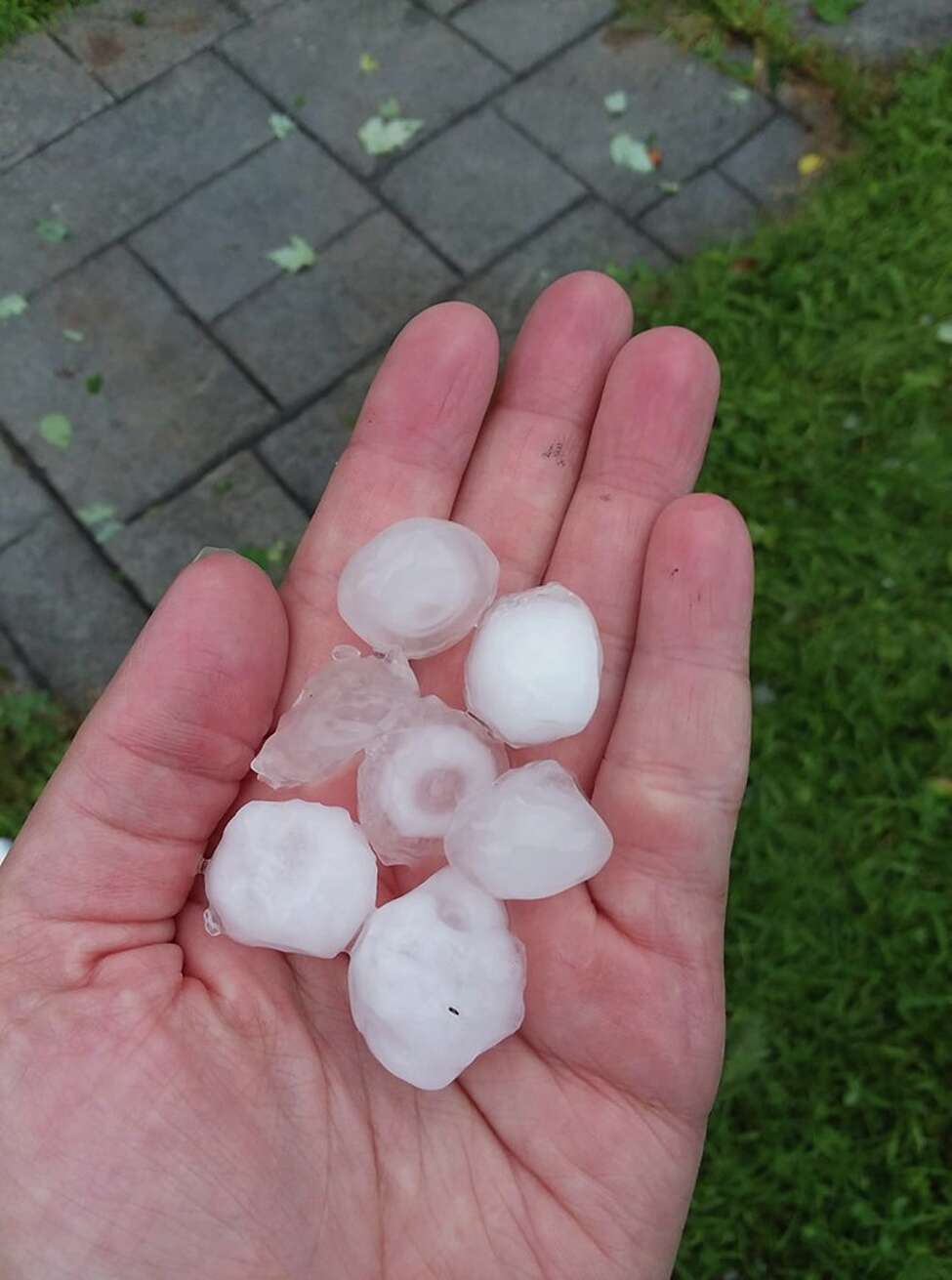 Brieanne Jones shared this image of hail from an August 2019 severe weather event.