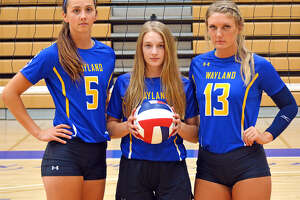 Senior Jordan Breding (middle) and juniors Kellie Kozak and Amber Daniel have been tasked with being leaders for the 2019 Wayland Baptist volleyball team. The trio hopes to lead the team back to the NAIA Tournament and that the team can stay healthy this season.