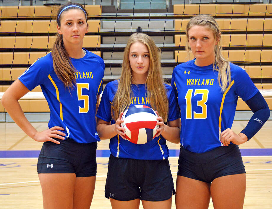 Senior Jordan Breding (middle) and juniors Kellie Kozak and Amber Daniel have been tasked with being leaders for the 2019 Wayland Baptist volleyball team. The trio hopes to lead the team back to the NAIA Tournament and that the team can stay healthy this season. Photo: Nathan Giese/Planview Herald