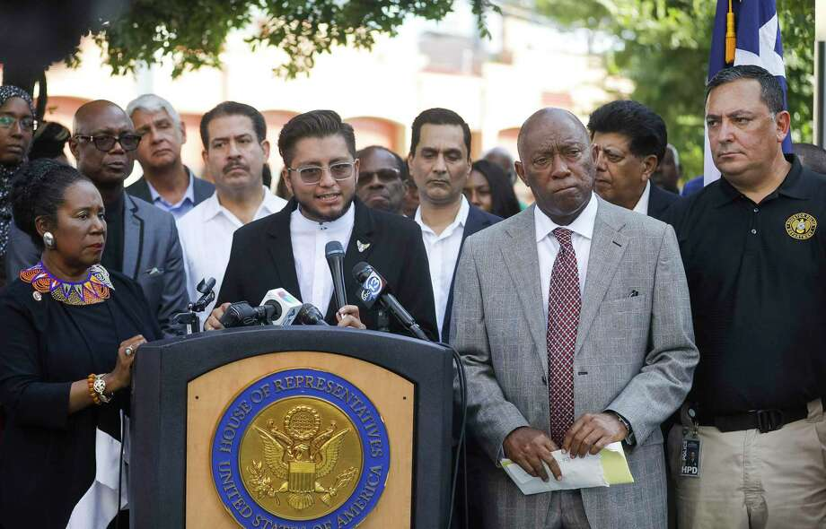Cesar Espinosa, with FIEL, speaks along with Congresswoman Sheila Jackson Lee, Houston mayor Sylvester Turner and Houston police chief Art Acevedo during a gathering to honor the victims of the recent mass shootings in El Paso, TX and Dayton, OH, in downtown Houston, Sunday, Aug. 4, 2019. Photo: Annie Mulligan, Contributor / Houston Chronicle / © 2019 Annie Mulligan / Houston Chronicle