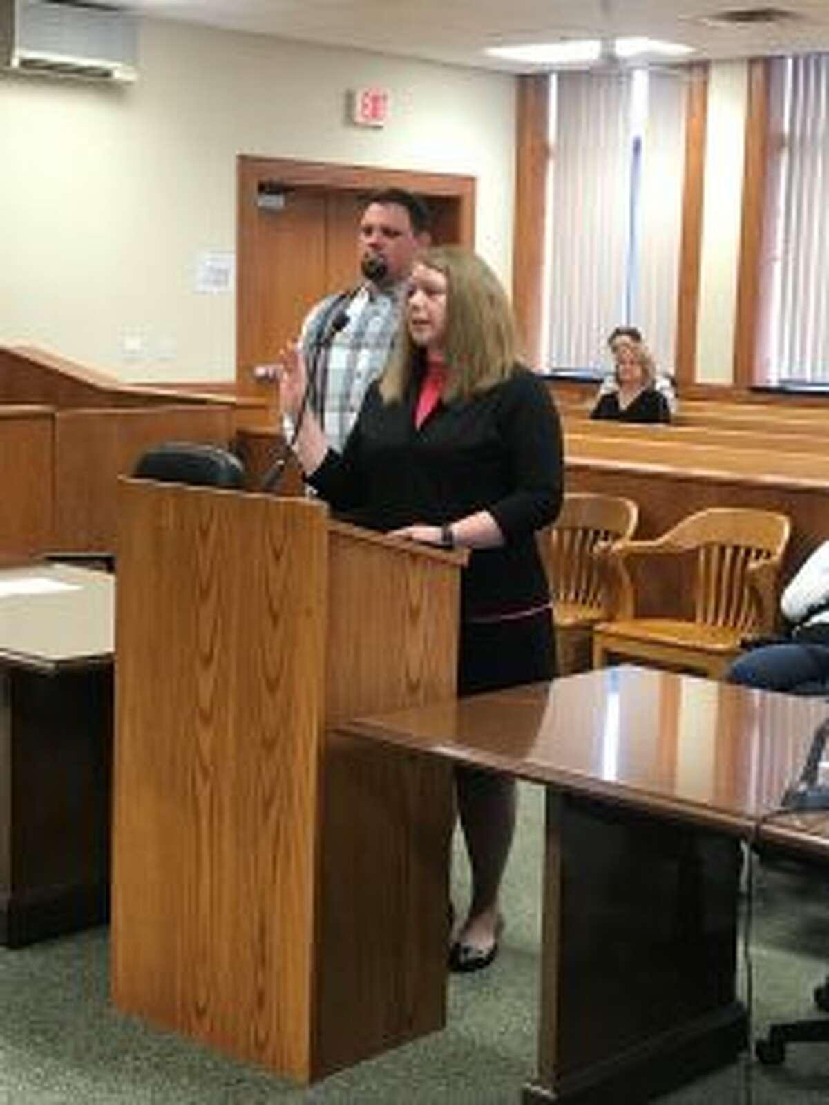 Rachel Nelson takes the oath of office for Manistee County treasurer. (Courtesy Photo/Rachel Nelson)