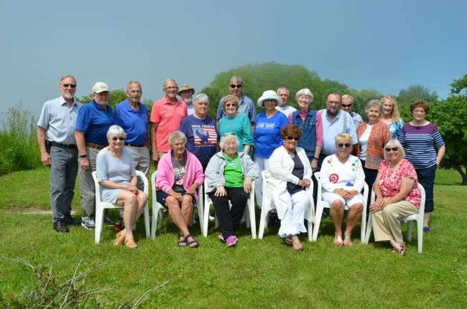 Members of the Manistee High School Class of 1960 met near Orchard Beach State Park for an informal picnic on June 29. Twenty-two members were in attendance and enjoyed good food and fun. Next year's class reunion will take place at about the same time. Pictured (front row, left to right) are Mary Rengo Murnik, Beezee Gunnerson Guenthardt, Kathe Cook Goffar, Donna Dashner Mallison, Kathie Bjorquist Bernaciak, Marlene Fortier Ethison; (back row) Don Pelarski, Larry Caro, Pete Carmody, Paul Bosschem, Doug Coombs, Phyllis Thorsen, Karen Courtney Kubanek, Jeff Johnson, Mary Esther Marshall, Bill Engwall, Jeanne Fredrickson Youngberg, Dave Neitzke, Bob Caro, Marti Hansen Somsel, Linda Andresen Robbins and Sandy Tremblay Cabot.(Courtesy photo)