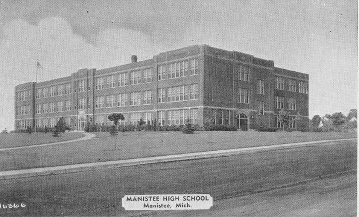 The photo shows the former Manistee High School in 1928 which was shortly after it had been constructed.