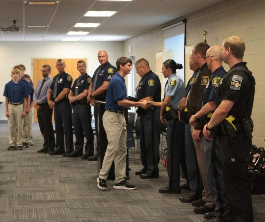 Sixteen students from Mecosta and Osceola counties graduated from the Michigan Youth Leadership Academy on Thursday. The program, hosted by the Michigan State Police with help from local law enforcement, provided participants with leadership and life skills. (Pioneer photo/Taylor Fussman)