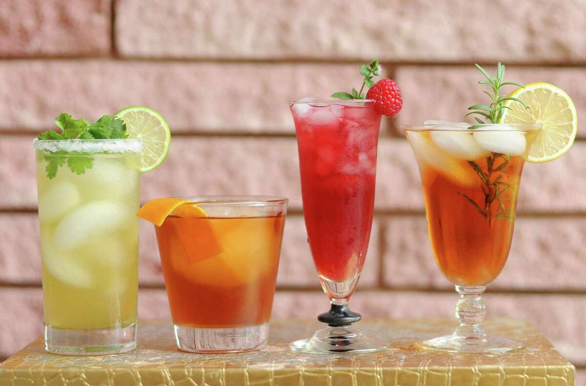 A selection of tea-based cocktails