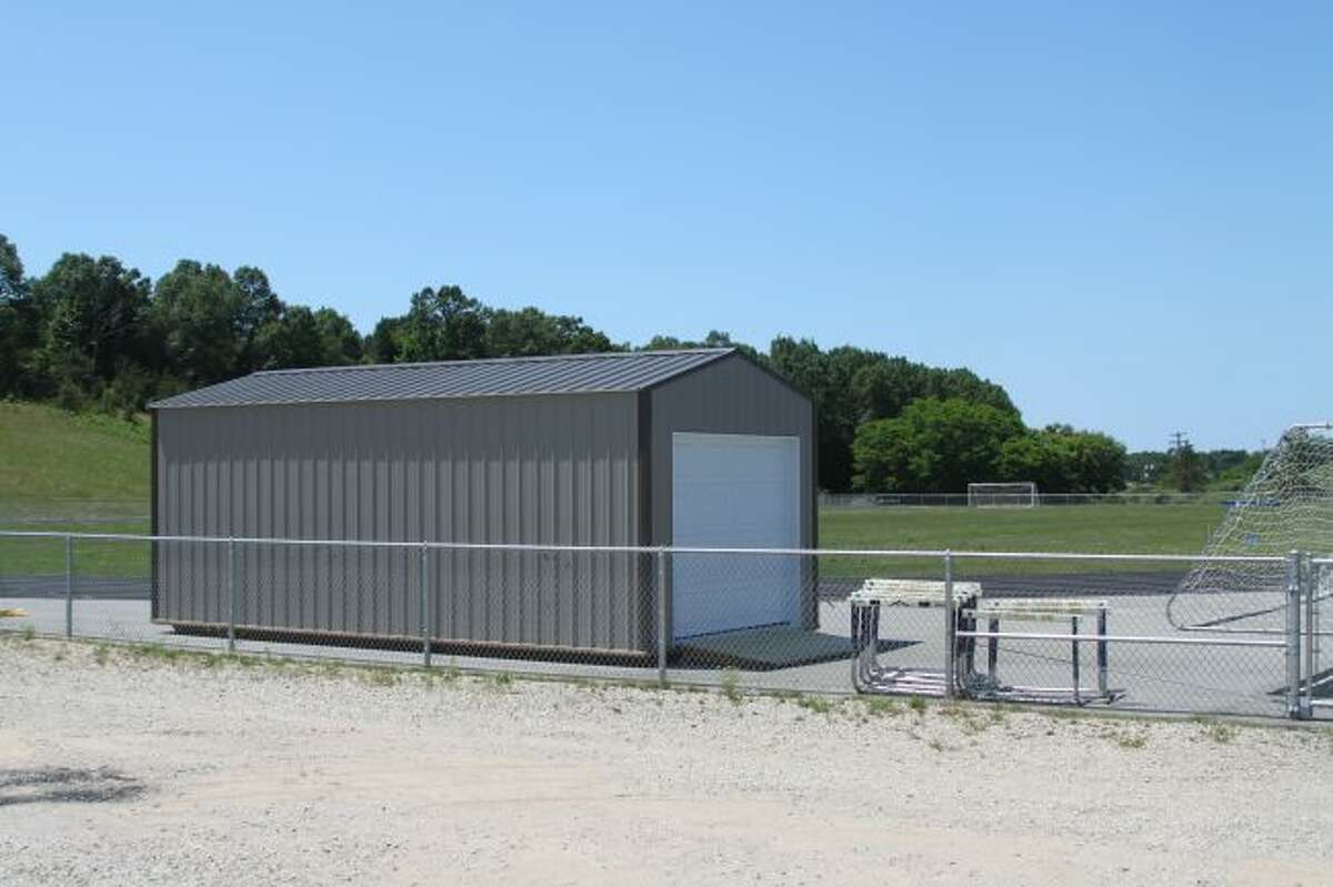 Shown is the new storage shed that was purchased by Manistee Area Public School officials to store the equipment for the new Manistee Community Track.